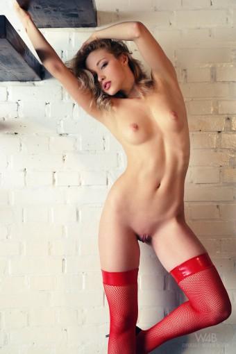 Sexi laska w czerwonych pończochach